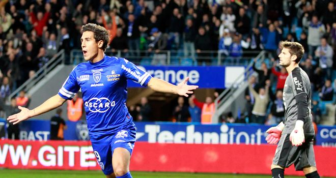 Gianni Bruno celebrates his goal for Bastia