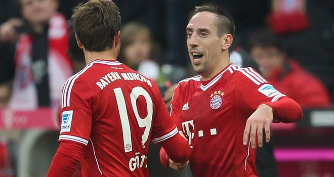 Bayern's Franck Ribery and Mario Gotze celebrate