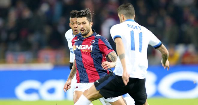 Bologna's midfielder Panagiotis Kone plays the ball