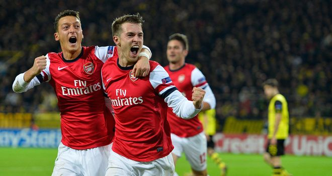 Aaron Ramsey and Mesut Ozil: Celebrate Arsenal's winner