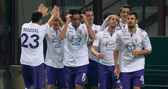 Fiorentina celebrate at the San Siro