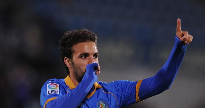 Pedro Leon of Getafe celebrates his goal