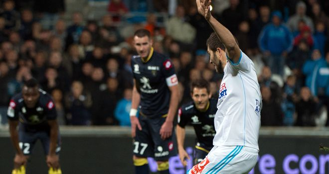 Marseille's Andre-Pierre Gignac scores a penalty