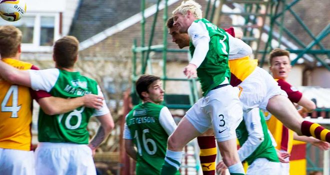 Stephen McManus: Scores the decisive goal as Motherwell beat Hibernian 1-0.