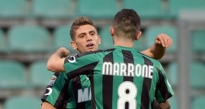 Domenico Berardi of Sassuolo celebrates