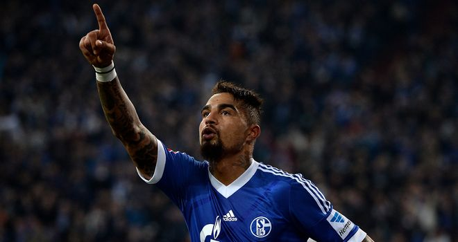 Kevin Prince Boateng celebrates for Schalke