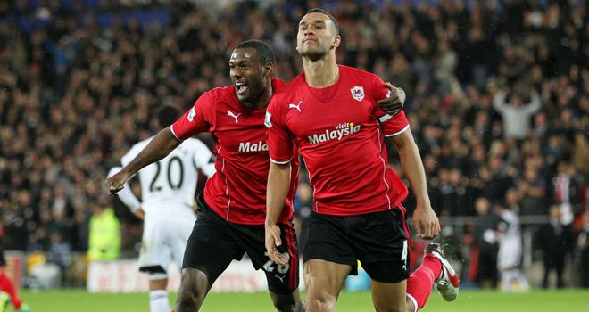 Steven Caulker: Cardiff defender celebrates scoring the only goal