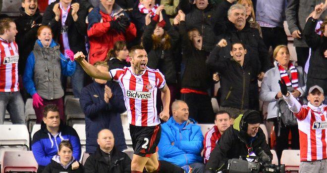 Phil Bardsley: Celebrates scoring Sunderland's opener