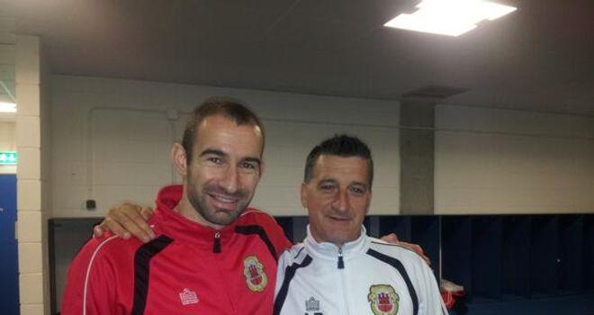 Gibraltar manager Allen Bula with nephew Danny Higginbotham