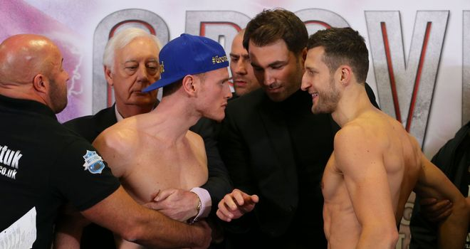 Eddie Hearn separates George Groves (L) and Carl Froch before their November fight