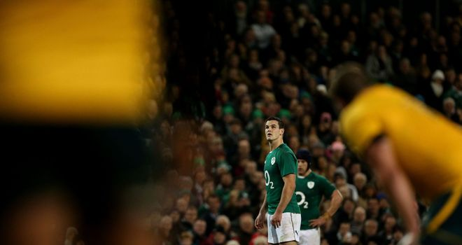 Ireland's Jonathan Sexton lines up a penalty against Australia