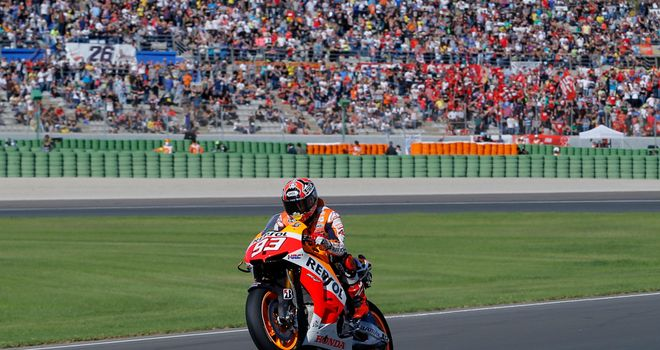 Marc Marquez celebrates his world title in Valencia