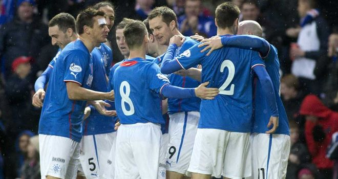Rangers celebrate Jon Daly's opener against Airdrie