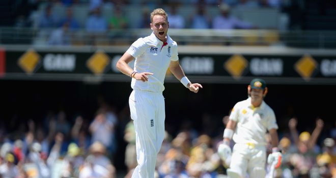 Stuart Broad celebrates dismissing Chris Rogers