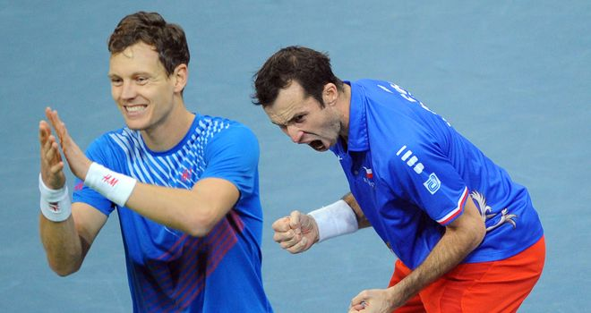 Tomas Berdych (R) and Radek Stepanek: Maintained unbeaten run together