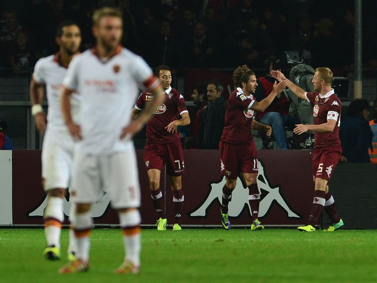 Alessio Cerci celebrates his goal for Roma