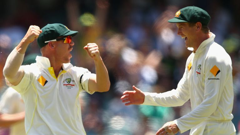 David Warner (L) and George Bailey: Will play in the Big Bash League before fourth Test