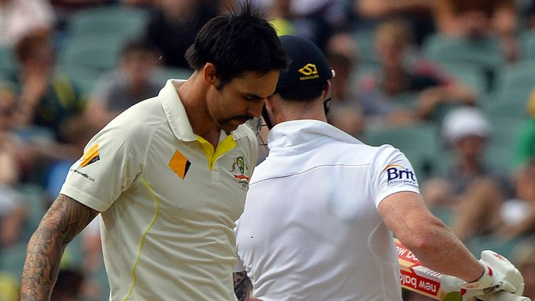 Mitchell Johnson and Ben Stokes collide during day four