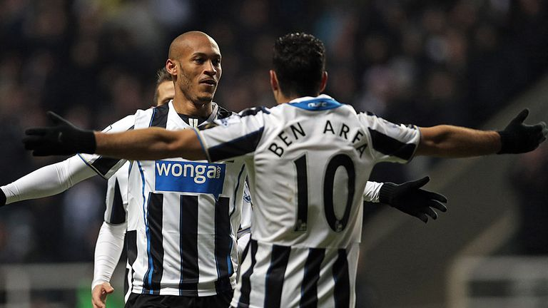 Yoan Gouffran: Celebrates his goal with Hatem Ben Arfa