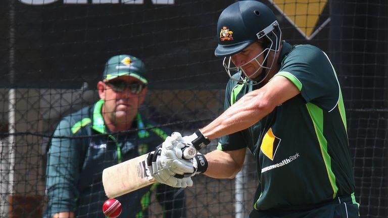 Shane Watson in the nets with Darren Lehmann looking on