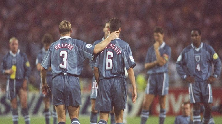 Gareth Southgate (right) after missing from the spot against Germany at Euro 96