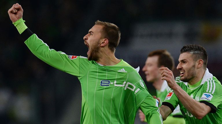 Bas Dost celebrates for Wolfsburg