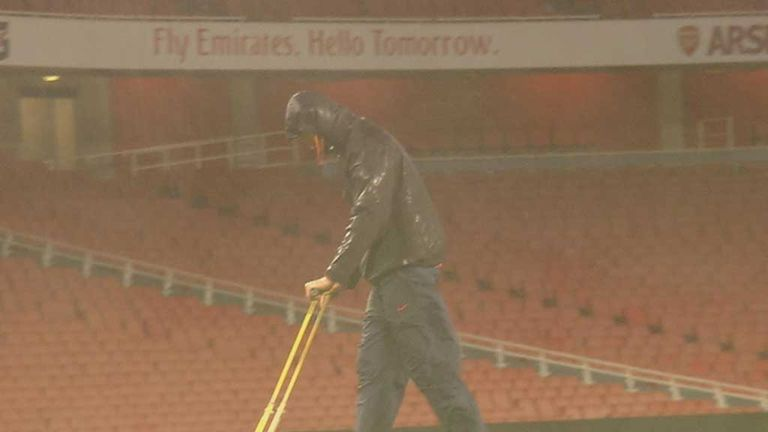 Emirates Stadium: Wet and windy conditions