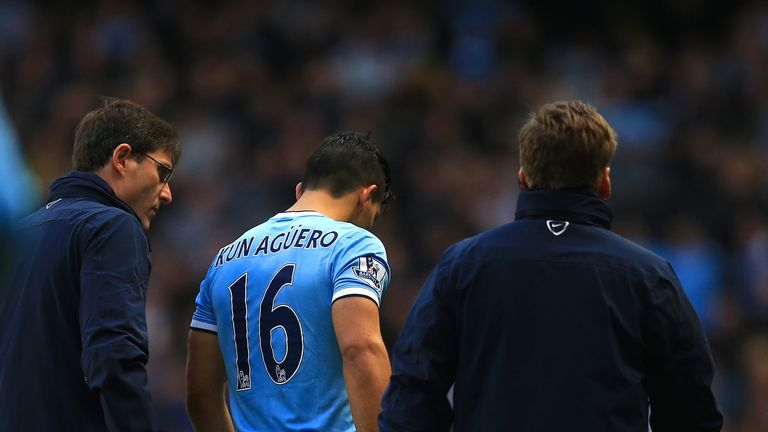Sergio Aguero: Manchester City striker facing spell on sidelines with a calf injury