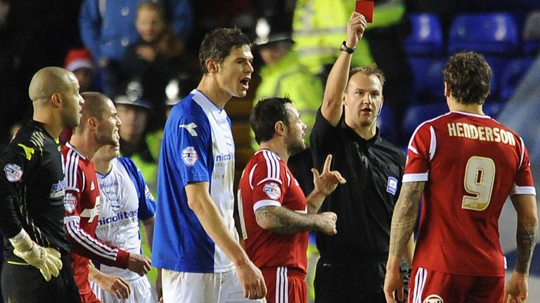 Darius Henderson: Forest striker shown a red card at Birmingham