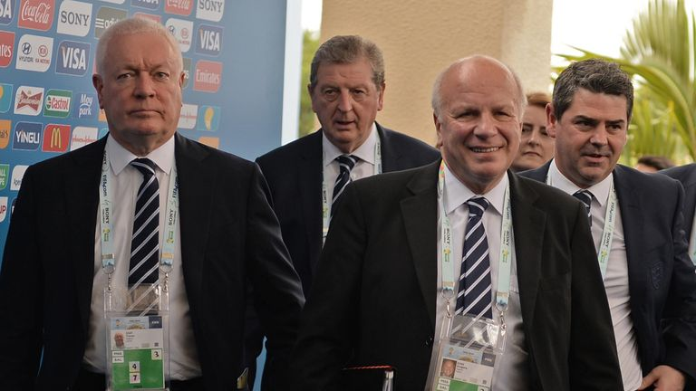 Greg Dyke (second from right) and other England representatives at the World Cup draw in Brazil