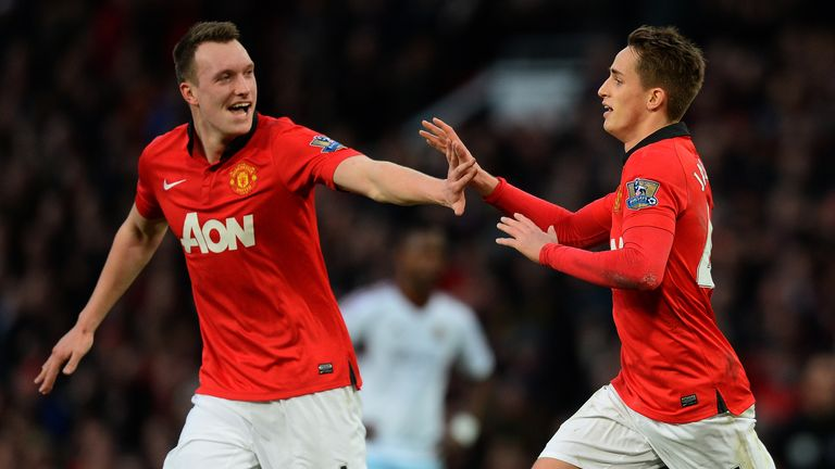 Phil Jones: Celebrates with goalscorer Adnan Januzaj