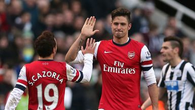 Olivier Giroud: Arsenal striker celebrates his goal against Newcastle on Sunday