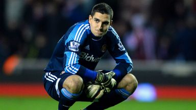 Vito Mannone: was beaten three times in the second-half at Wembley