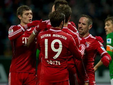 Bayern Munich celebrate during their 7-0 victory