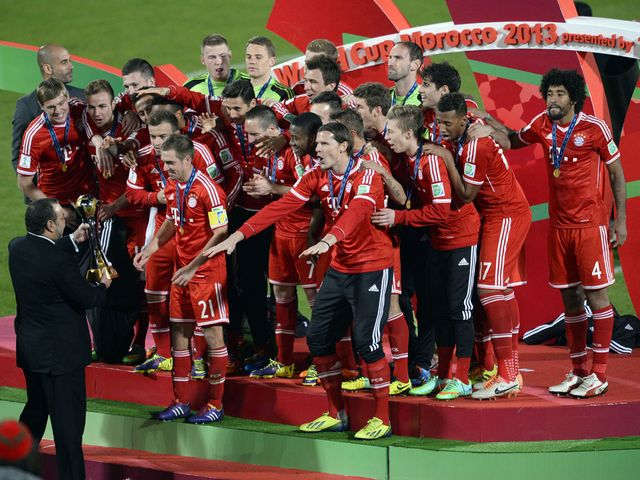 Bayern Munich celebrate their victory in Morocco