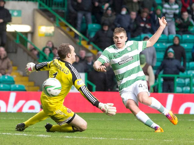 James Forrest scores his goal for Celtic
