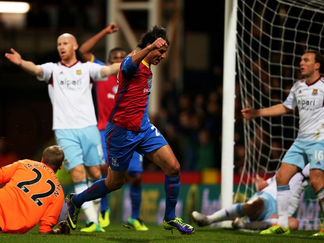 Marouane Chamakh scores for Crystal Palace in the first half