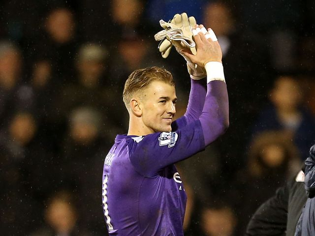 Joe Hart applauds supporters at the end of the game