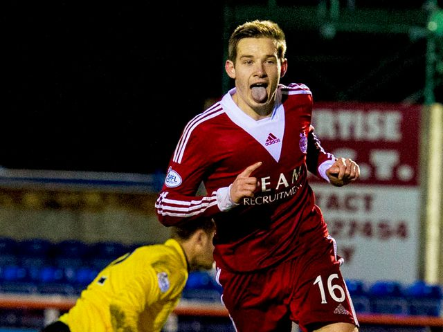 Peter Pawlett celebrates his goal for Aberdeen