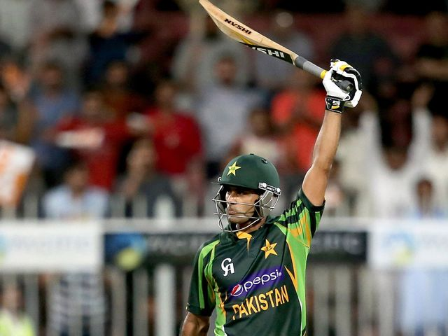 Mohammad Hafeez celebrates reaching his century
