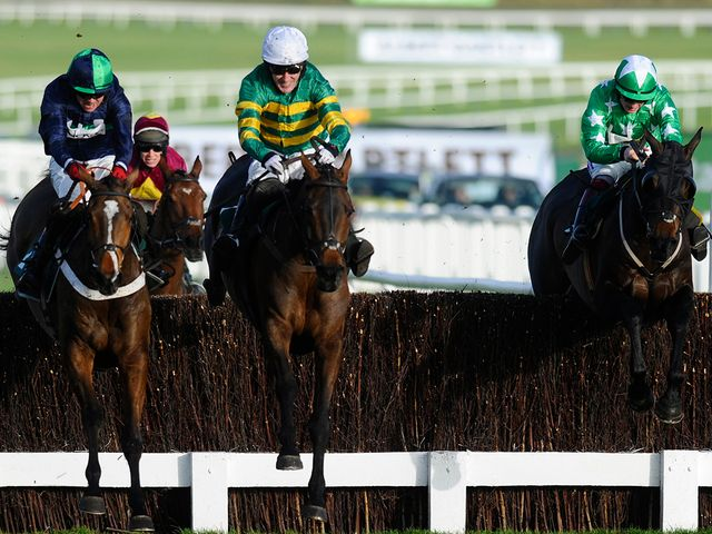 Tony McCoy and Eastlake (centre) fend off their rivals