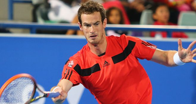 Andy Murray during a recent exhibition match in Abu Dhabi