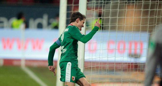 Paul Verhaegh of Augsburg celebrates