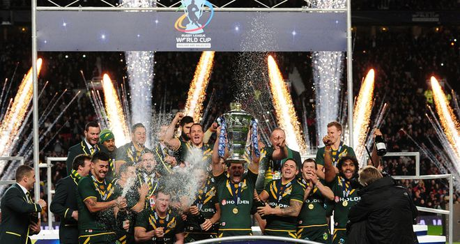 Australia celebrate their Rugby League World Cup final victory