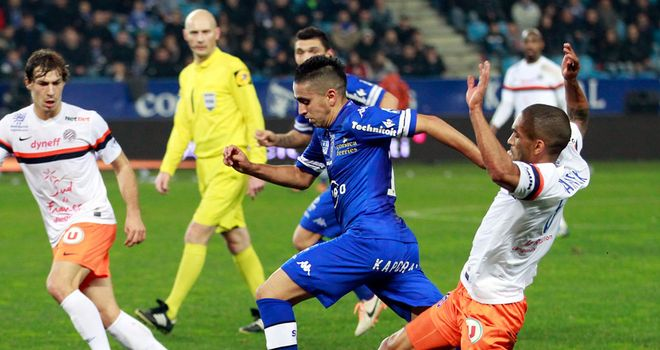 Ryad Boudebouz drives forward for Bastia