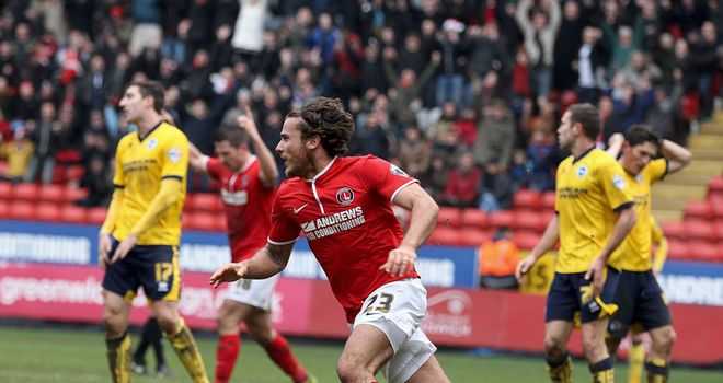 Lawrie Wilson: Celebrates one of his goals for Charlton