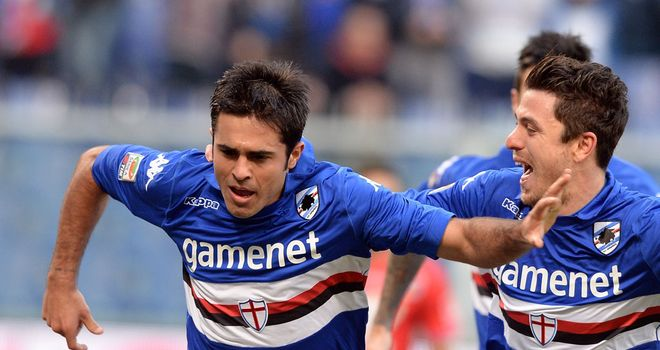 Eder celebrates his goal for Sampdoria