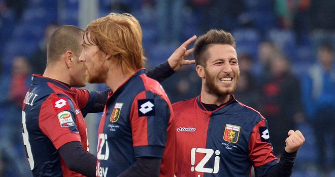 Genoa celebrate against Atalanta