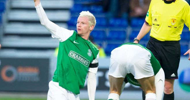 Michael Nelson is grounded at Hibernian celebrate his goal against Ross County