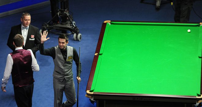 Mark Selby celebrates the 100th maximum break in tournament snooker history